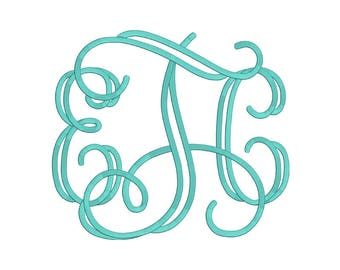 Open Vine Monogram Embroidery Font 4 Size Font Machine Embroidery Font Instant Download 9 Formats Embroidery Pattern PES and BX
