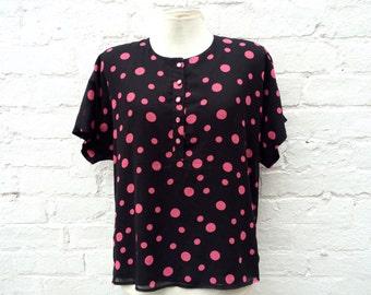 Vintage top, polka dot blouse, short sleeve summer fashion