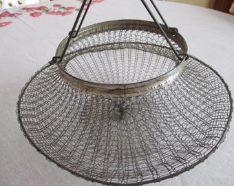 1940's Rustic French Style Collapsible Wire Basket