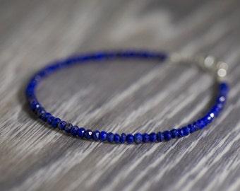 Lapis Lazuli Bracelet/September Birthstone/Blue Lapis Bracelet/Beaded Bracelet/Gemstone Bracelet/Gift For Her/Lapis Jewelry/Lapis Lazuli