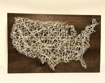 Rustic United States string art medium size