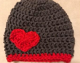 Crochet heart hat, Heart hat, boy hat, boy heart hat, boys crochet hat, crochet heart hat, Valentine's Day hat, crochet valentine