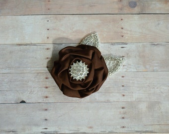 Brown Flower Hairclip Flower Girl Hairclip, Wedding Clip, Bridal Hairclip, Rhinesyine Hairclip, Fascinator Bridesmaid Bridal Shower Baby