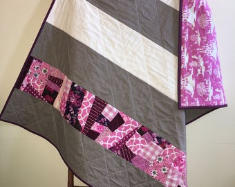 Modern Baby Quilt, Baby Girl Quilt, Pink and Grey, Nursery, Decor, Handmade, Baby Shower Gift, Stripes, Patchwork Quilt