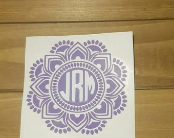 Mandala Flower Monogram Decal, Flower Initial Decal, YETI Cup Decal, RTIC Cup Decal, Car Decal, Laptop Decal. Many colors available.