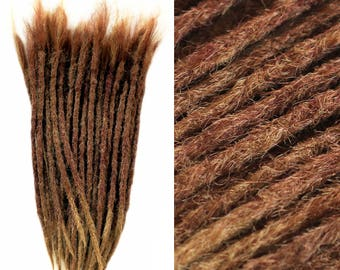 10 SYNTHETIC DREAD EXTENSIONS - Caramel Brown / custom • crocheted • brown blond ombre • natural look • dreads • extensions / dread-store