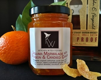 Satsuma Marmalade w_ Bourbon & Candied Ginger, Gift for Foodie, Gourmet Jams and Jellys, Coworker Gift, Homemade Marmalade, Gift for Him
