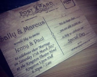 Personalised Vintage wooden Post Card Invitations - WEDDING, CEREMONY, CELEB'S