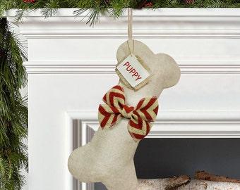 Personalized Dog Bone Christmas Stockings, Burlap Christmas Stocking, Customized Christmas Stocking