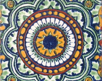 C#035))  Mexican Ceramic 4x4  inch Hand Made Tile