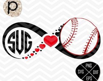 Baseball heart svg*Baseball Mom*Baseball Infinity*Baseball Monogram Frame SVG*svg,clipart,eps,dxf,png*Cutting File*Cricut*Silhouette*SureCut