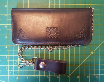Handmade black leather biker wallet with celtic design