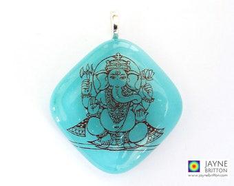 Ganesh pendant, turquoise blue glass, Throat chakra, symbol of success, ganesha charm jewellery, meditation jewelry