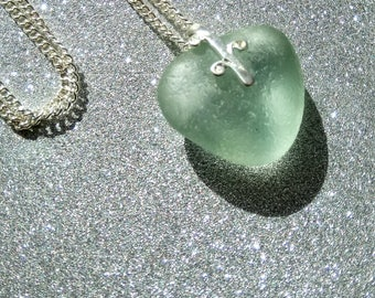 Sea Glass Heart Pendant Necklace