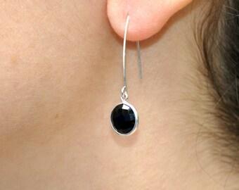 Black Onyx Earrings, Sterling Silver Jewelry, Dangle Drop Earrings, Gift for Women, Modern Earrings, Fashion Earrings, Black earrings