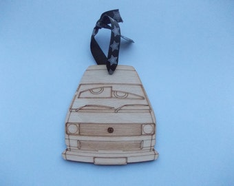 T25 Camper Xmas Dec (Large - front view with bug eyes) - Etched detail wooden
