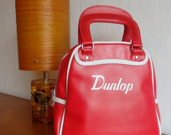 Dunlop Mini Zip Up Sports Bag In Red With White Piping.PVC.Excellent Condition