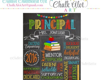 Principal Appreciation Gift, Principal Chalkboard Sign, Best Principal, #1 Principal, Personalized Principal Gift, End of the Year Gifts