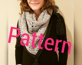 Triangle Bandana Crochet Scarf Pattern with Pom Poms- Easy to follow