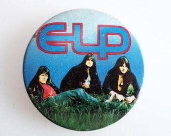 "Emmerson Lake & Palmer - Vintage 1970s 2.5"" Pin Back Button Badge"