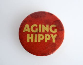 "Vintage 'Aging Hippy' 1"" Pin Back Button Badge"