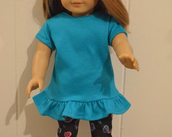 """18"""" Doll Clothing: Turquoise Top with Ruffle Bottom and Black Leggings with Pink/Turquoise/Purple Designs"""