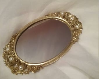 Gold Tone Mirror  Vanity Tray With Flowers and Pearl Centers