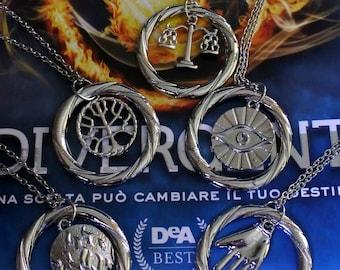 Divergent Factions necklaces insurgent allegiant saga of Veronica Roth intrepid, Cahill, p, abneganti, scholars