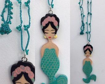 Frida kahlo Mermaid pendant on crochet necklace zoownatas