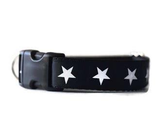 """Star dog collar, dog collars for boys, boy dog collar, male dog collar, black dog collar, fancy dog collar, 1"""" wide dog collar"""
