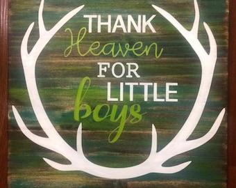 Little boy antler wood sign