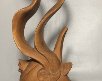 Abstract wood carving/sculpture. Vintage condition.