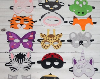 Animal Masks For Children Party Favor Zoo Safari Party Dress Up- Lot option