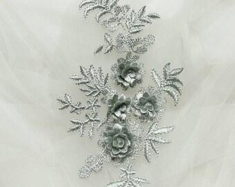 Gray Blossom Applique.Cherry Blossom Decor.Flower Patch.Floarl Applique.Sewing Supplies.Embroidered Applique.Cherry Embroidered Patch
