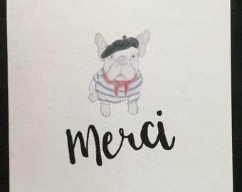 French bulldog- Thank you card