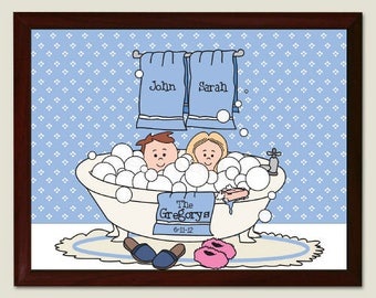 Personalized Tub Couple Wall Plaque Custom Name Gift
