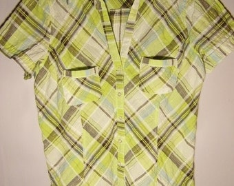 Vintage Womens Blouse/Summer Cotton Blouse/Green White Gray/ Gold Threads/Button Up/Short Sleeve/ Checkered Blouse / Size M