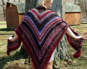 Hand Knit Purple Chenille Shawl with Eyelash Accents Large, XL, Plus