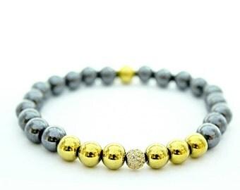 men's bracelet , hematit silver bracelet , hematyt gold color bracelet ,  Handmade bracelet,