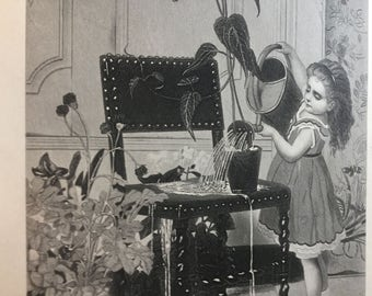 1888 steel engraving print of a little girl