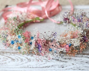Colorfull Dried Baby breath wreath, Tie back Floral wreath, Dried Flowers wreath