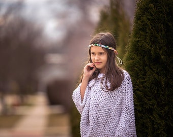 Knitted Asymmetric  Bulky Knit Poncho,Girls Knit poncho
