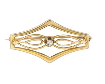 "Estate 10K Yellow Gold Genuine Diamond Vintage Bar Brooch Pin 1"" long  Victorian 10 k kt 10kt Antique Filigree Open Scroll Design"
