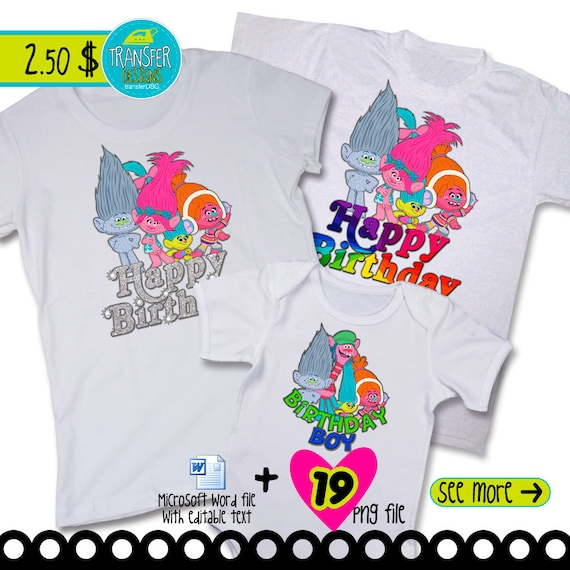 Trolls Iron-On T-Shirt Transfer