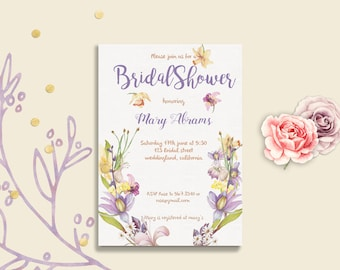 Bridal Shower Invitation Card flowers watercolor PRINTABLE