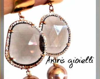 Brass earrings with smoky quartz drop zirconata and Pearl Golden Majorca