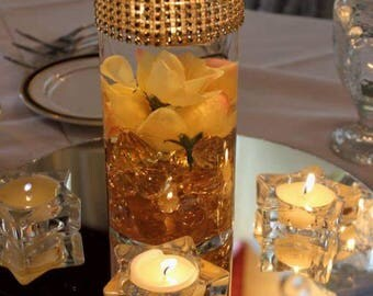 Gold Centerpieces,  50th anniversary, Bridal Shower, Centerpieces, Wedding Centerpieces,  Bling, Event Centerpieces, Engagement, Gold