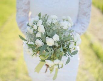 White Ranunculus Silk Flower Wedding Bouquet