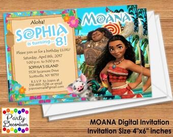Moana Birthday Invitation - Printable Digital Files