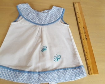 0-3 months Spring dress. Beautiful soft cotton baby girl butterfly motif dress with hand embroidered butterflies.